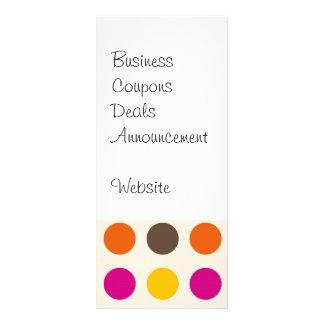 Bold Colorful Orange Pink Yellow Brown Polka Dots Rack Card