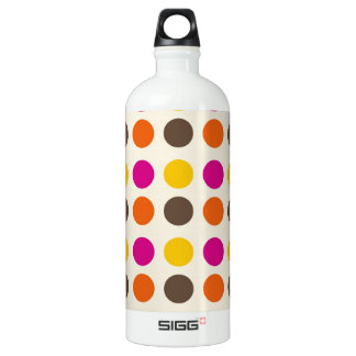 Bold Colorful Orange Pink Yellow Brown Polka Dots Water Bottle