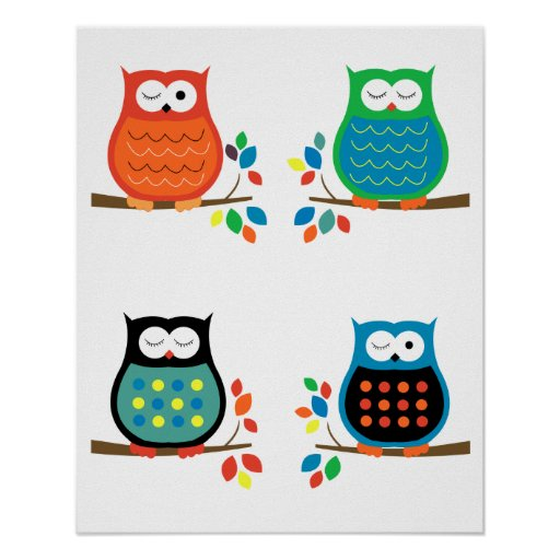 Bold Colorful Owls Nursery Prints (Four 8x10)