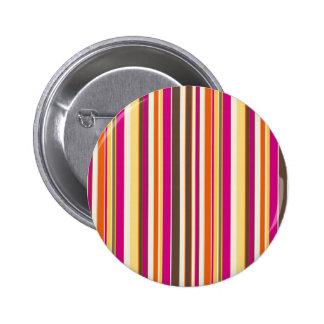 Bold Colorful Pink Orange Brown Stripes Pattern Button