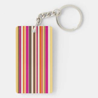 Bold Colorful Pink Orange Brown Stripes Pattern Keychain