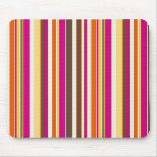 Bold Colorful Pink Orange Brown Stripes Pattern Mouse Pad