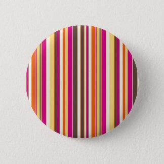 Bold Colorful Pink Orange Brown Stripes Pattern Pinback Button