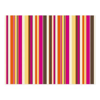 Bold Colorful Pink Orange Brown Stripes Pattern Postcard
