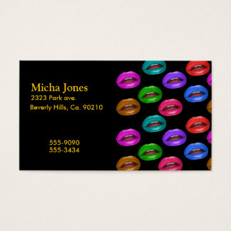 Bold Colorful Pouty Lipstick Lips Business Card