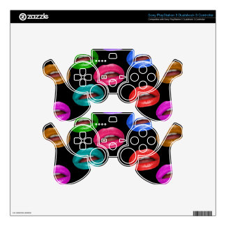 Bold Colorful Pouty Lipstick Lips Skin For PS3 Controller