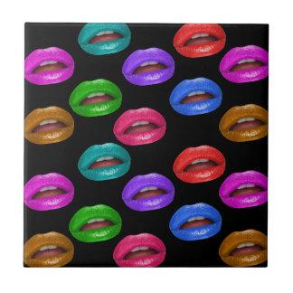 Bold Colorful Pouty Lipstick Lips Tile