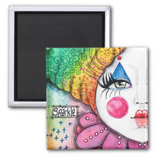 Bold Colorful Rainbow Clown Girl Fun Whimsical Art Magnet