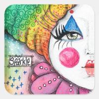 Bold Colorful Rainbow Clown Girl Fun Whimsical Art Square Sticker