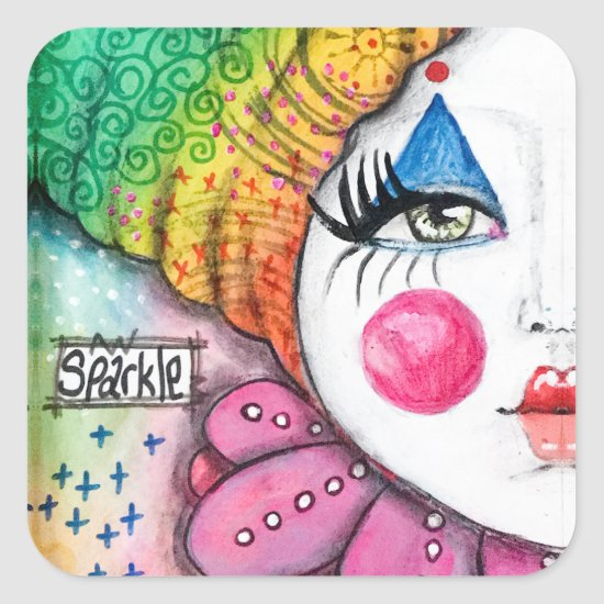Bold Colorful Rainbow Clown Girl Fun Whimsical Art Square Sticker