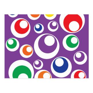 Bold Colorful Retro Purple Circles Balls Pattern Postcard