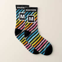 Bold Colorful Stripes Pattern Name and Monogram Socks