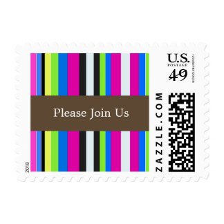 Bold Colorful Stripes Postage