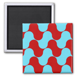 Bold Colorful Teal Turquoise Red Wavy Pattern 2 Inch Square Magnet