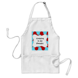 Bold Colorful Teal Turquoise Red Wavy Pattern Adult Apron