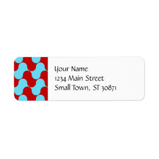 Bold Colorful Teal Turquoise Red Wavy Pattern Label