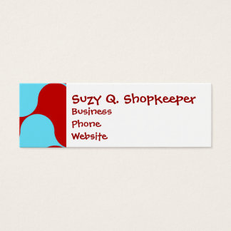 Bold Colorful Teal Turquoise Red Wavy Pattern Mini Business Card