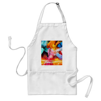 Bold Colorful Yarn Threads and Light Beams Adult Apron