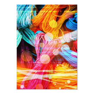 Bold Colorful Yarn Threads and Light Beams Card
