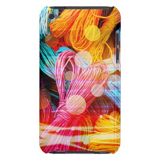 Bold Colorful Yarn Threads and Light Beams Barely There iPod Covers