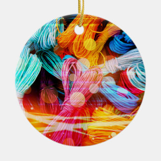 Bold Colorful Yarn Threads and Light Beams Ceramic Ornament