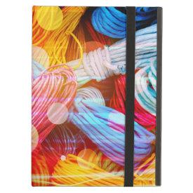 Bold Colorful Yarn Threads and Light Beams iPad Folio Cases