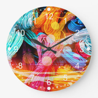 Bold Colorful Yarn Threads and Light Beams Large Clock