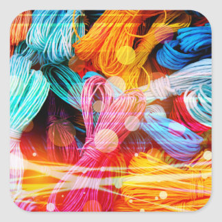 Bold Colorful Yarn Threads and Light Beams Square Sticker