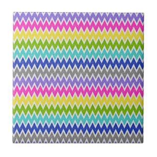 Bold Colors Glitter Like Chevron Pattern Small Square Tile