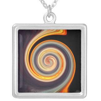 Bold Colors Spiral Sunset Fractal Square Necklace