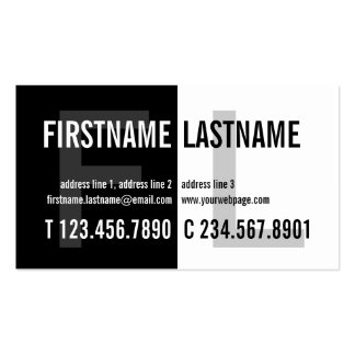 Bold Contrast Eyecatching Black White Profile Card Business Card Template