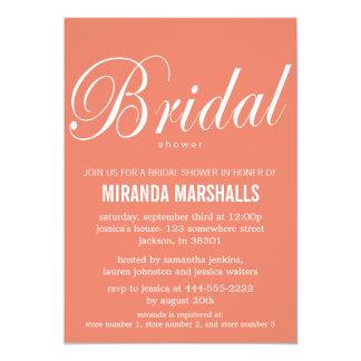 """Bold Coral Bridal Shower Invitations 5"""" X 7"""" Invitation Card"""