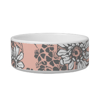 Bold Coral Floral Pattern Custom Cat Bowl