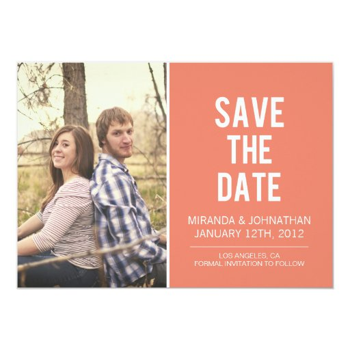 Bold Coral Photo Save The Date Announcements