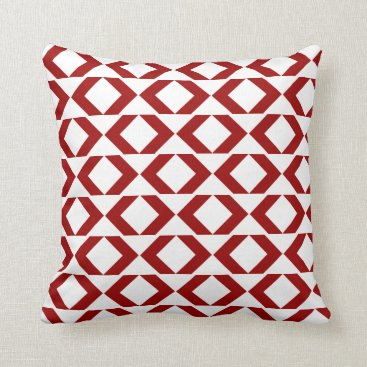 Aztec Themed Bold crimson red and white modern chevron throw pillow