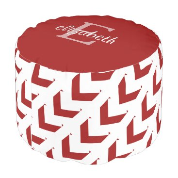 Aztec Themed Bold Crimson & White Chevron, personalized Pouf