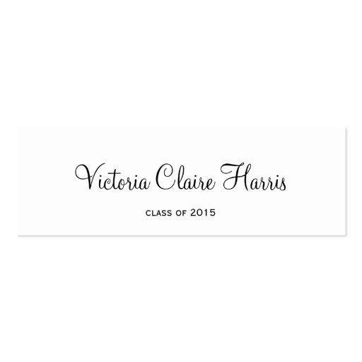 bold cursive graduation insert class of name card business card. Black Bedroom Furniture Sets. Home Design Ideas
