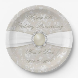 Bold Damask 30th Wedding Anniversary Paper Plate