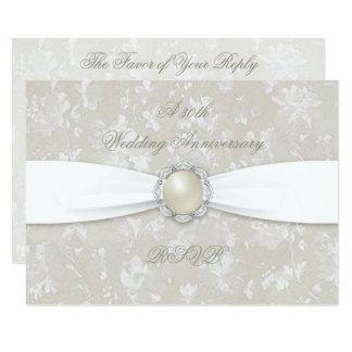 Bold Damask 30th Wedding Anniversary RSVP Card