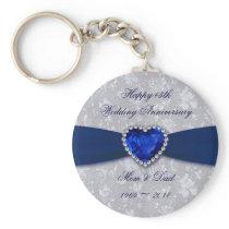 Bold Damask 45th Wedding Anniversary Key Chain