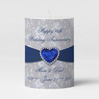 Bold Damask 45th Wedding Anniversary Pillar Candle