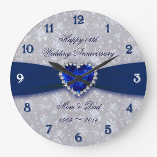 Bold Damask 45th Wedding Anniversary Round Clock