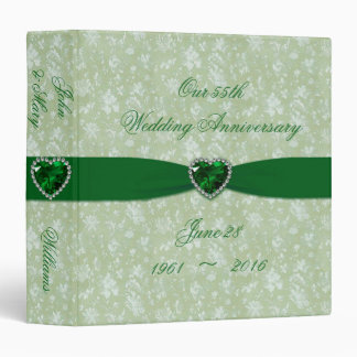 "Bold Damask 55th Wedding Anniversary 1.5"" Binder"