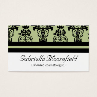 Bold Damask Green Cosmetologist Business Cards