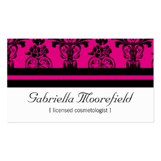 Bold Damask Pink Cosmetologist Business Cards