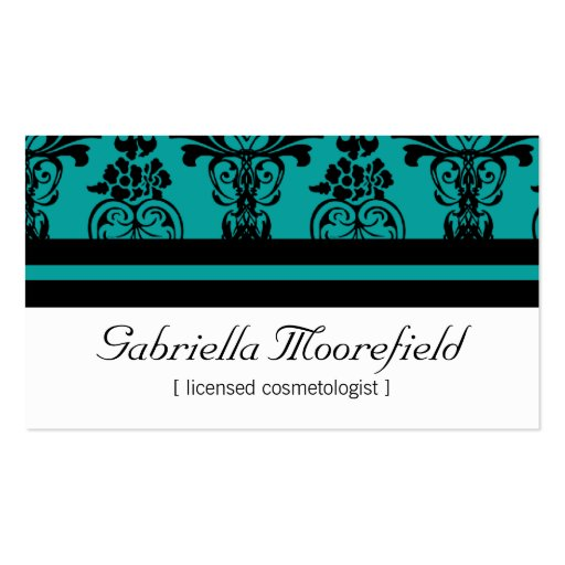Bold Damask Teal Cosmetologist Business Cards