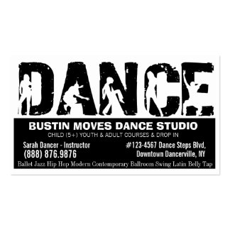 Bold DANCE Studio Black and White Business Cards