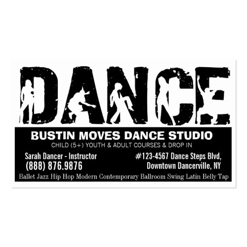 Bold DANCE Studio Black and White Double-Sided Business Cards