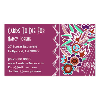 Bold Deco Florals in Rose - Business Cards