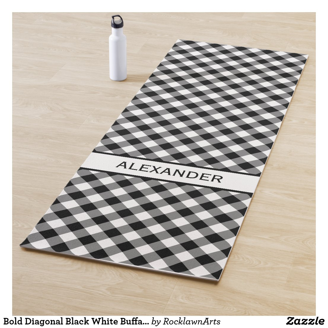 Bold Diagonal Black White Buffalo Plaid Your Name Yoga Mat